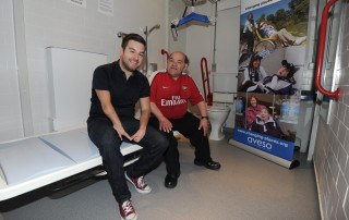 The New Disabled Toilet on Club Level is opened by Arsenal fan Leroy and Comedien Alex Brooker. Arsenal 3:1 West Ham United. Barclays Premier League. Emirates Stadium, 15/4/14. Credit : Arsenal Football Club / David Price.